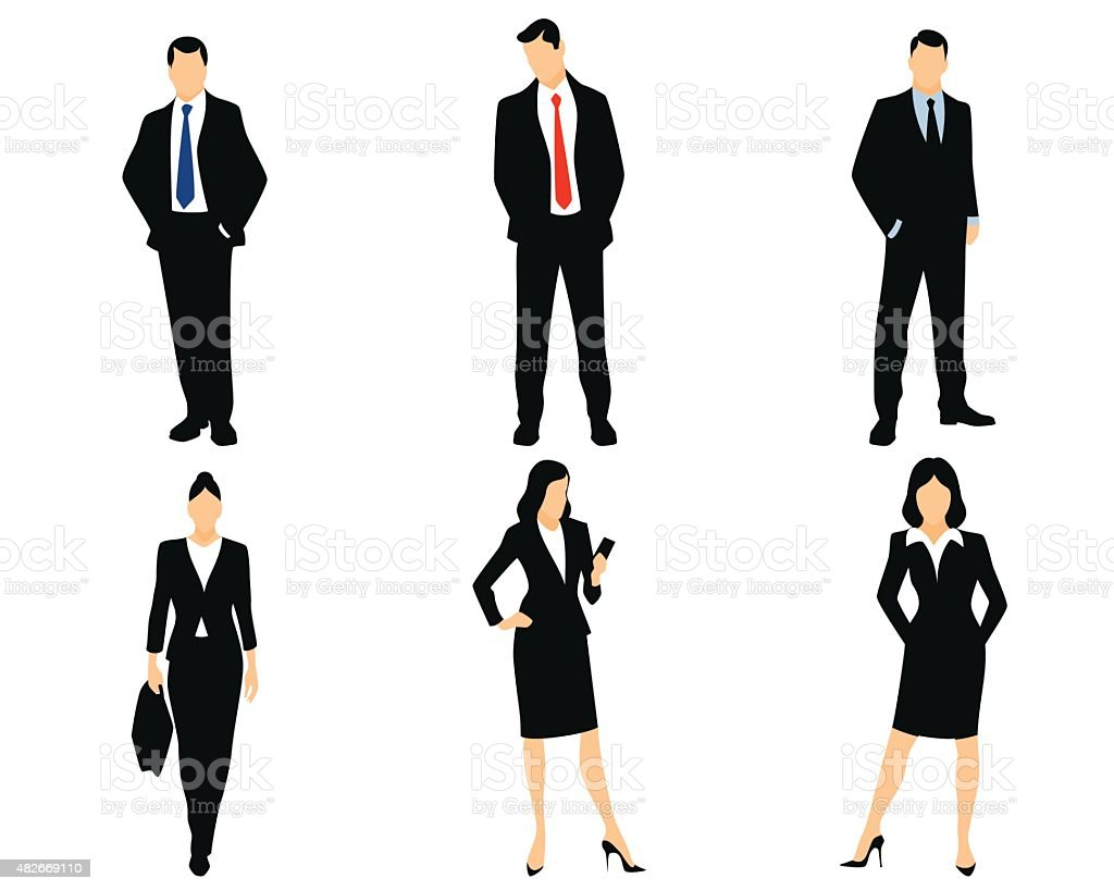 White collar workers vector art illustration