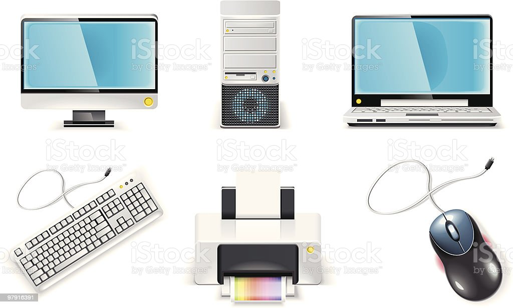 White computer icon set. PC vector art illustration