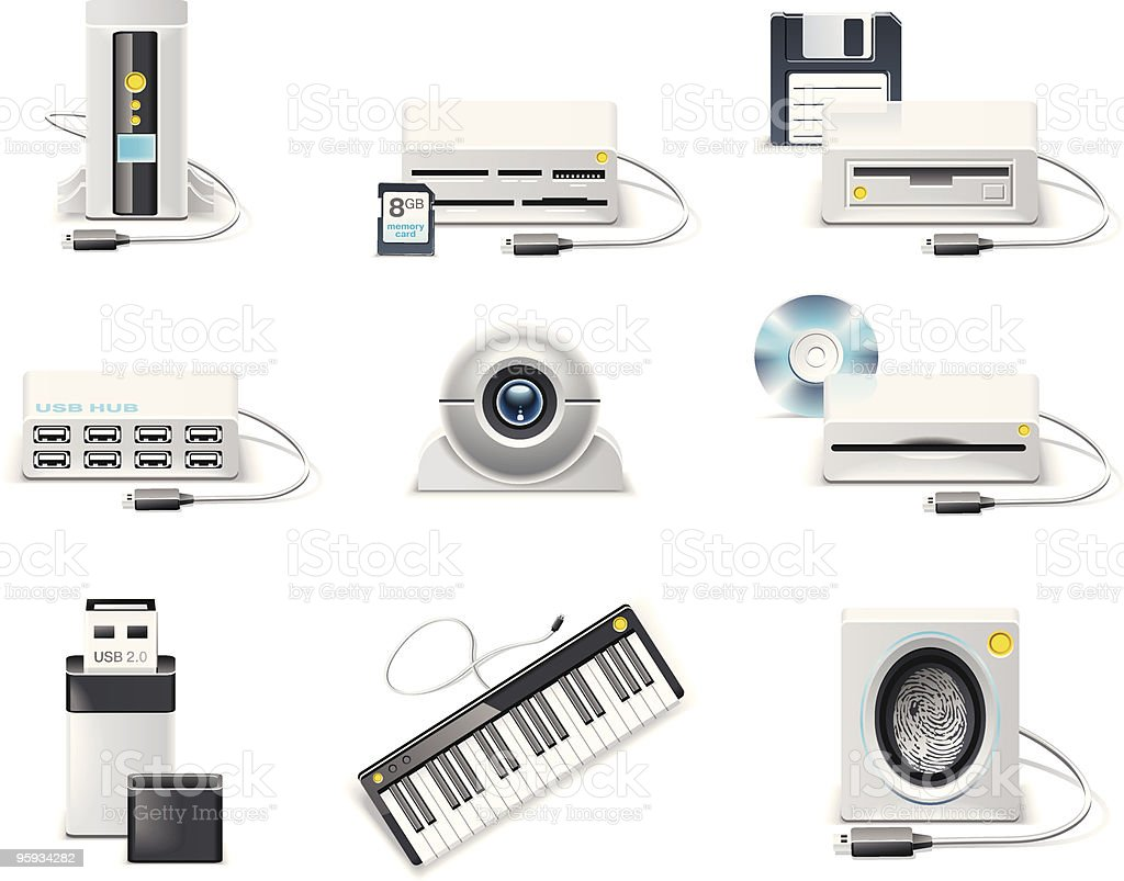 White computer icon set. USB devices royalty-free stock vector art