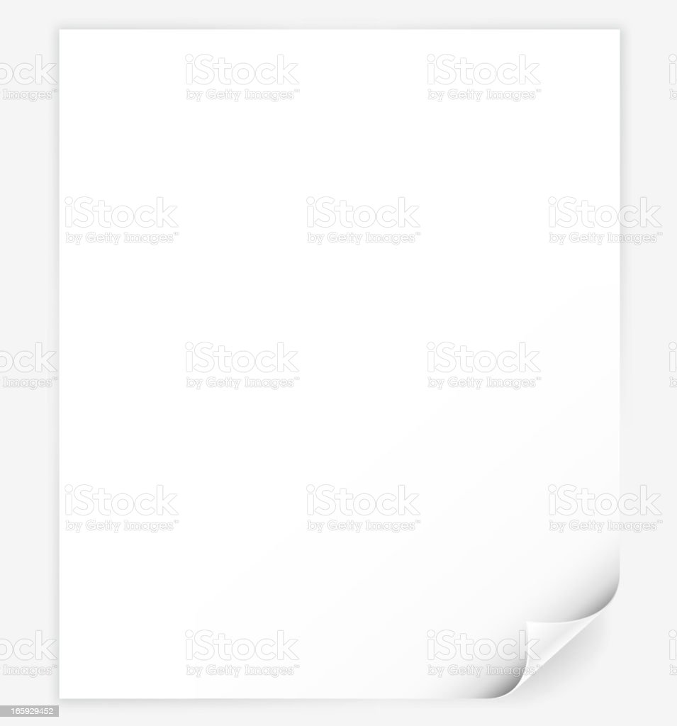 White computer Paper with page curl vector art illustration