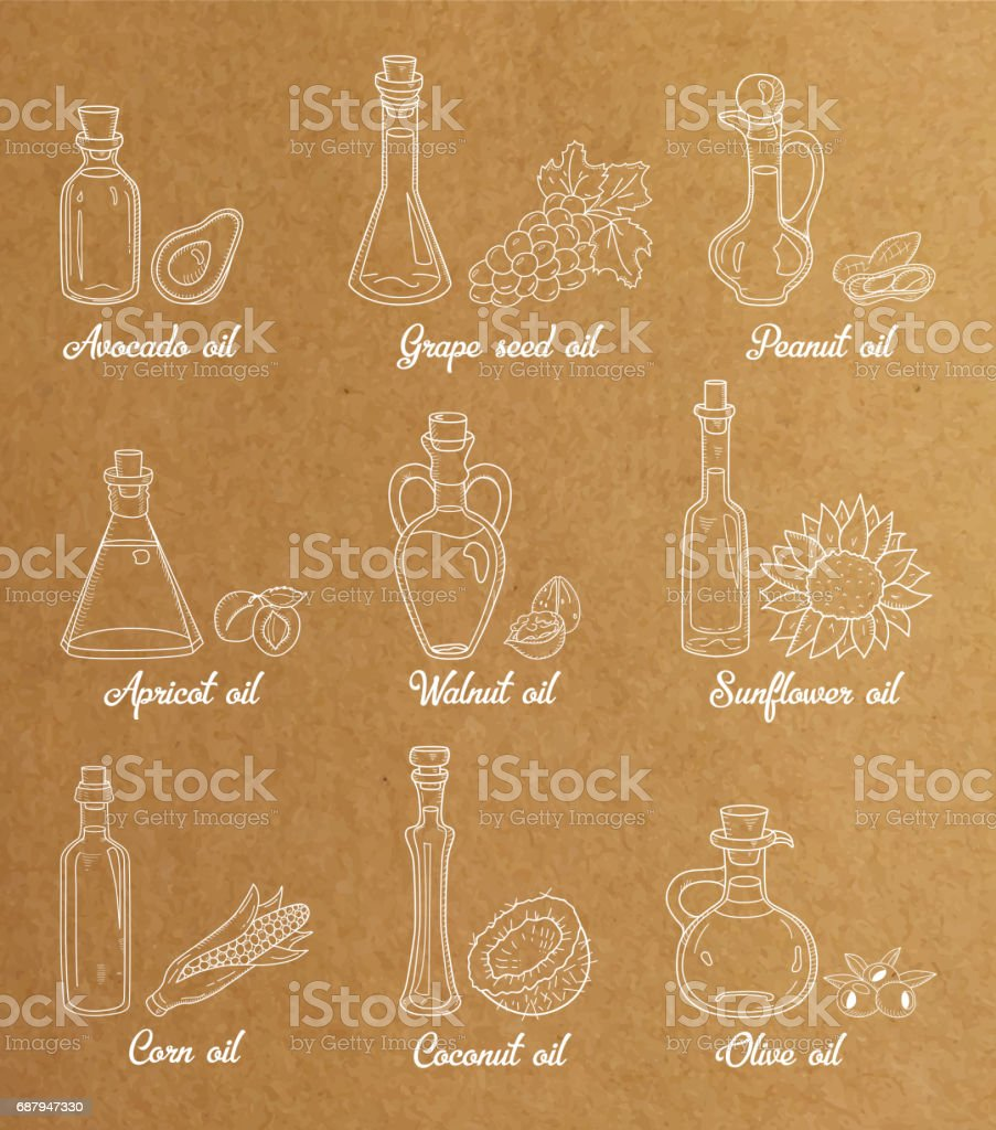 9 white cooking oils in vintage sepia style vector art illustration