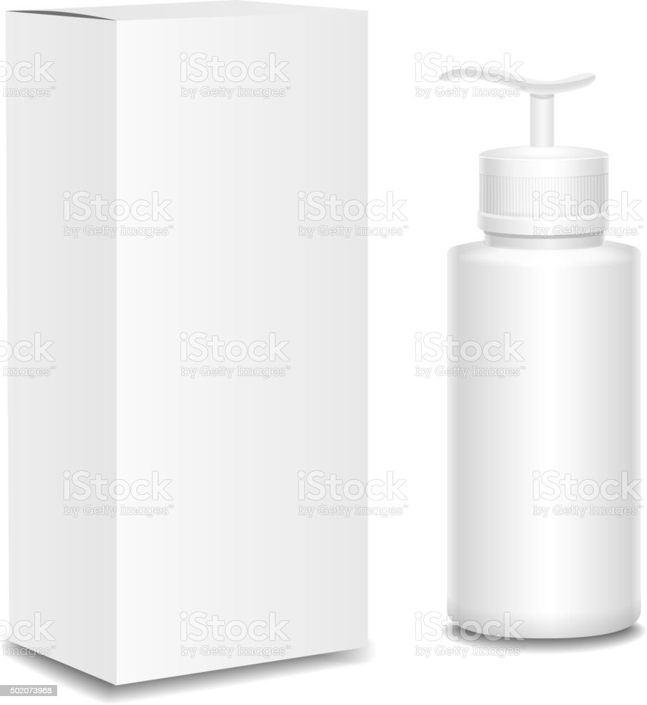 White cosmetics containers and package,  Plastic bottle with a spray vector art illustration