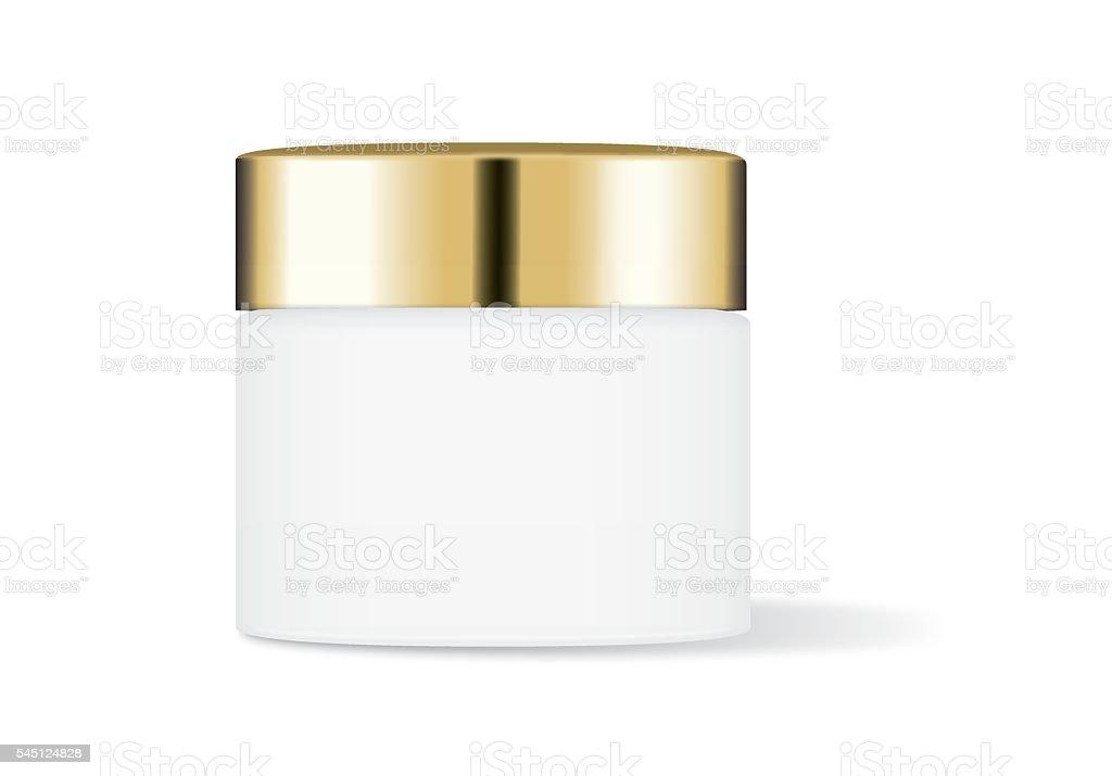 White cream jar with gold cap vector art illustration