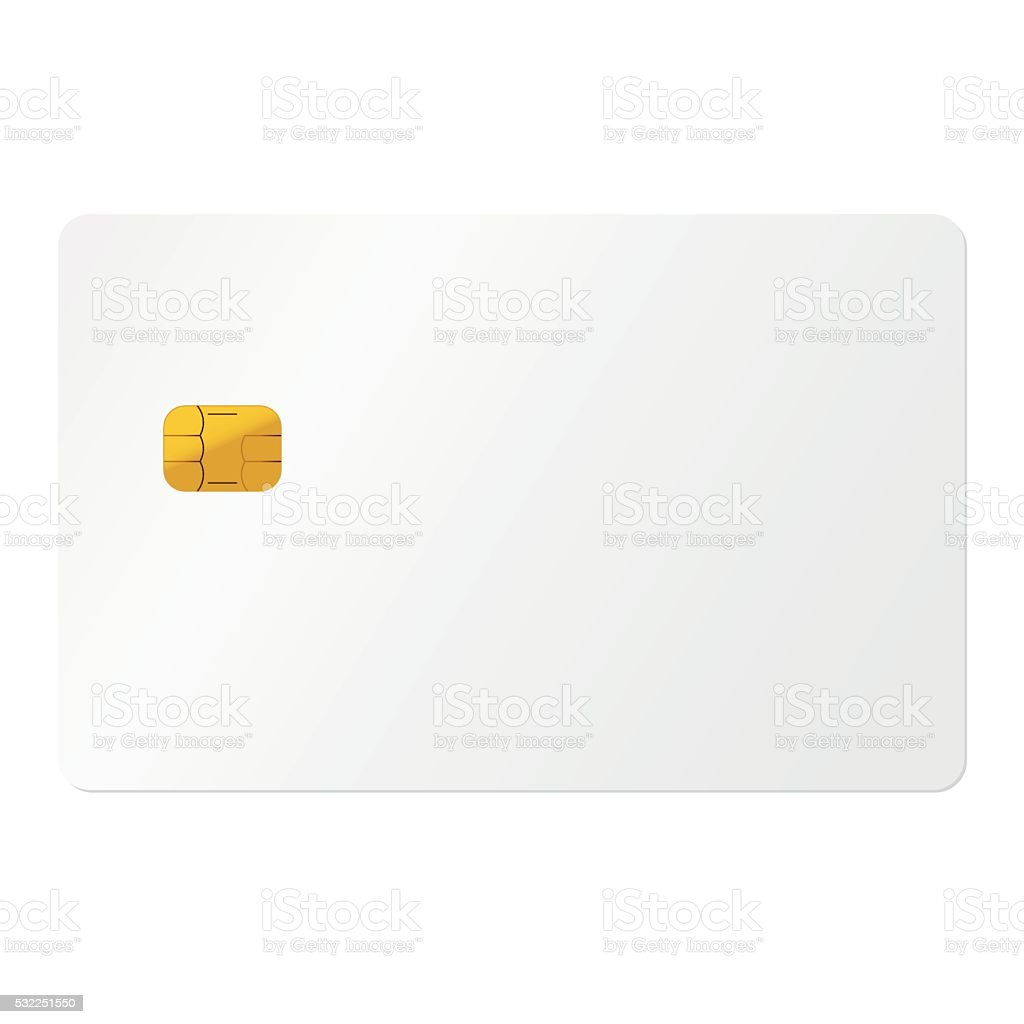 White credit card on white background vector art illustration