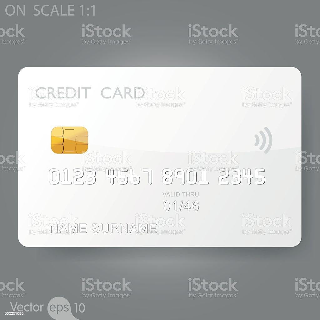 White credit card template vector art illustration