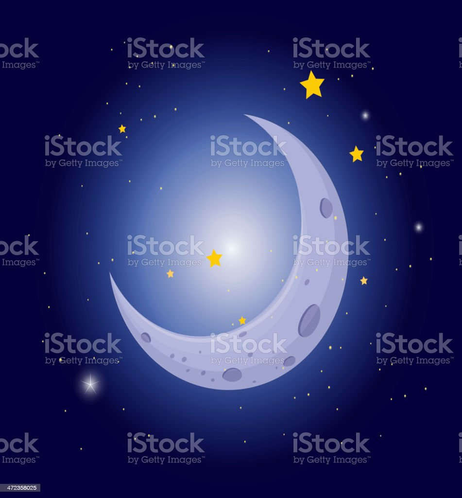 White crescent in the sky royalty-free stock vector art