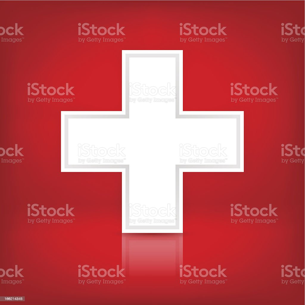 White Cross 1 credits Plus Sign Medical Symbol Switzerland Flag royalty-free stock vector art
