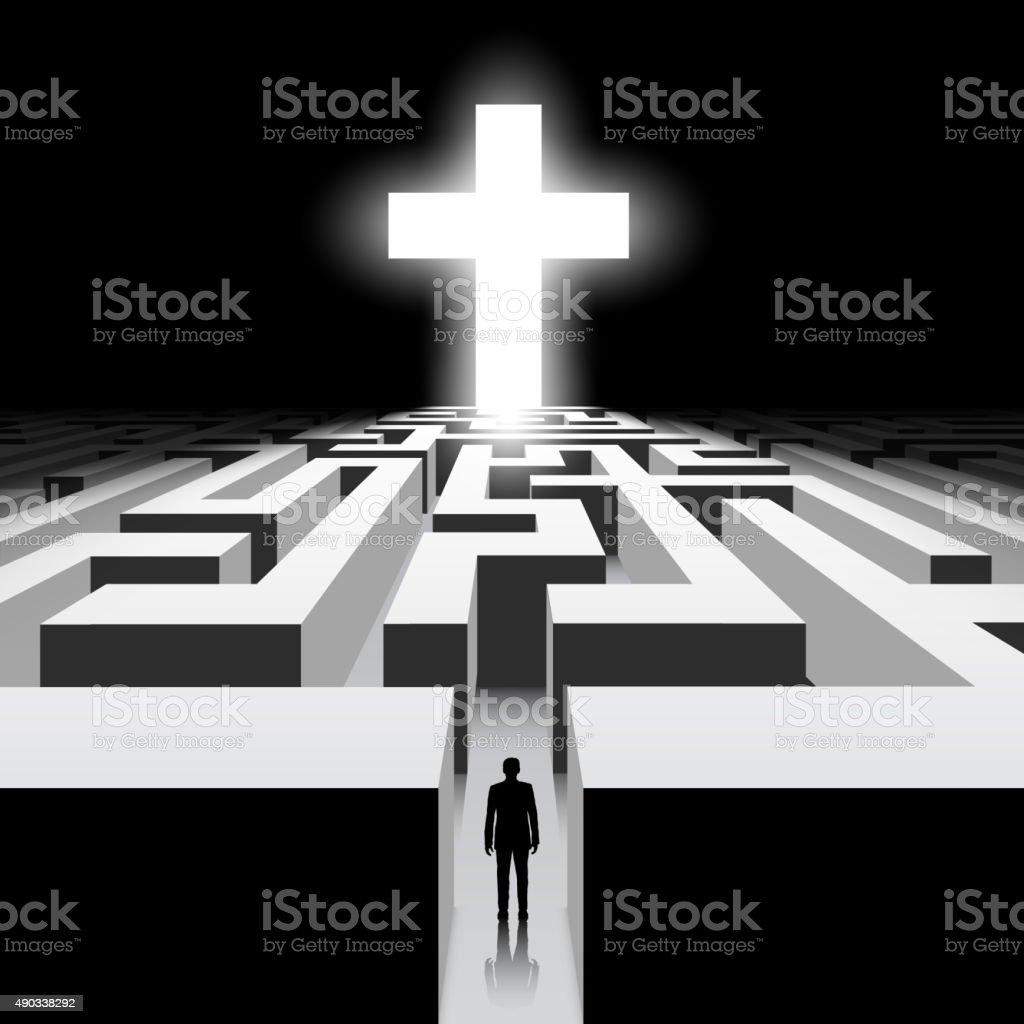 White Cross vector art illustration