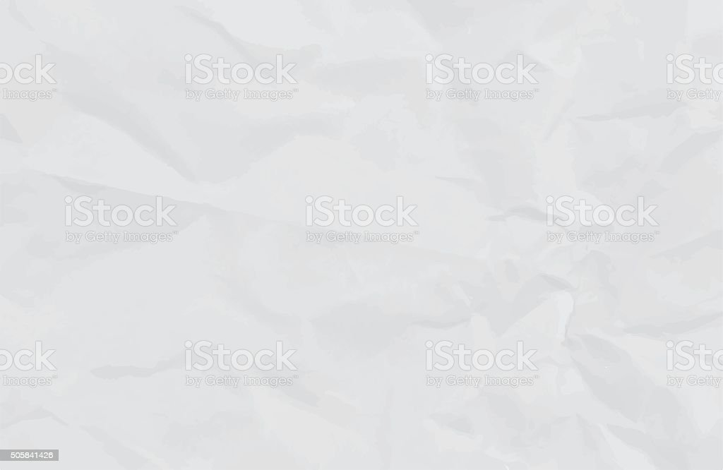 white crumpled paper background or texture vector art illustration