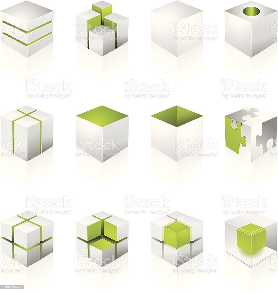 White Cube Design Elements vector art illustration