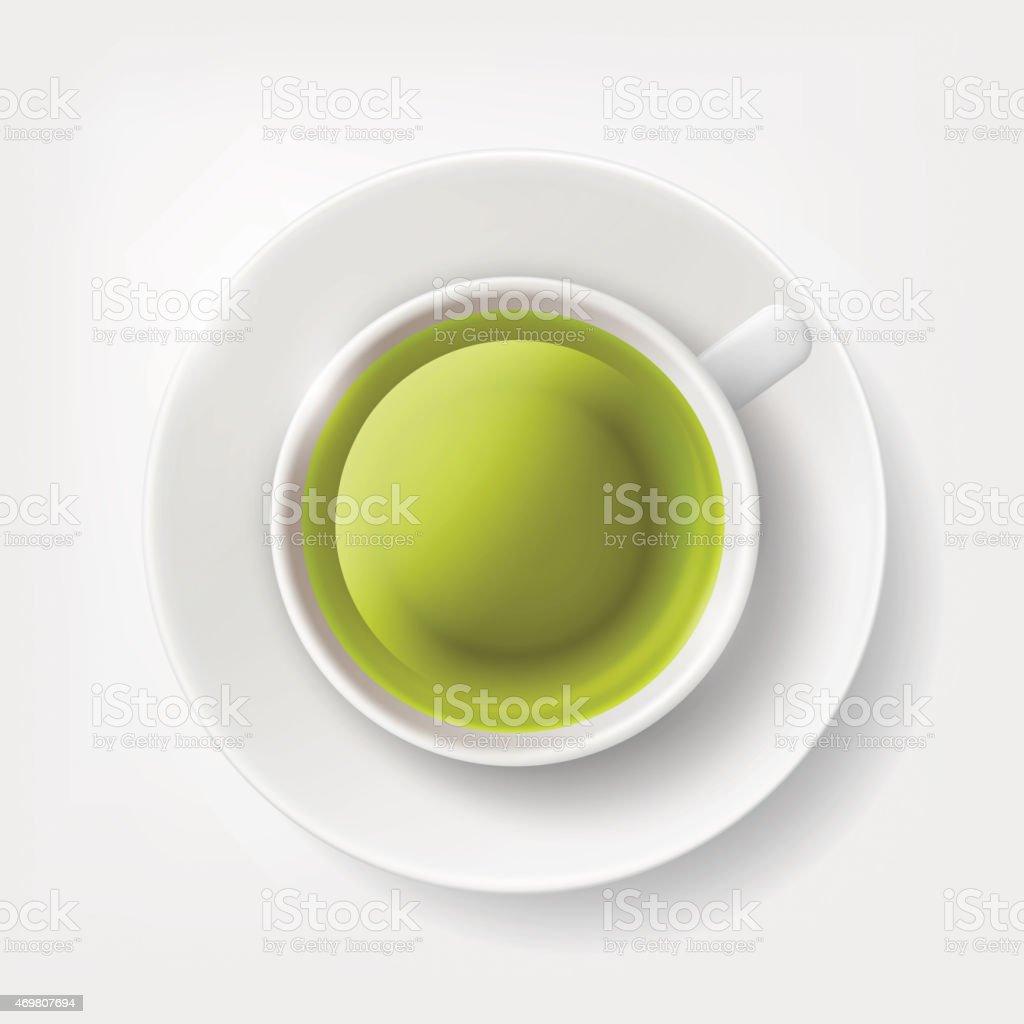White cup of green tea. vector art illustration