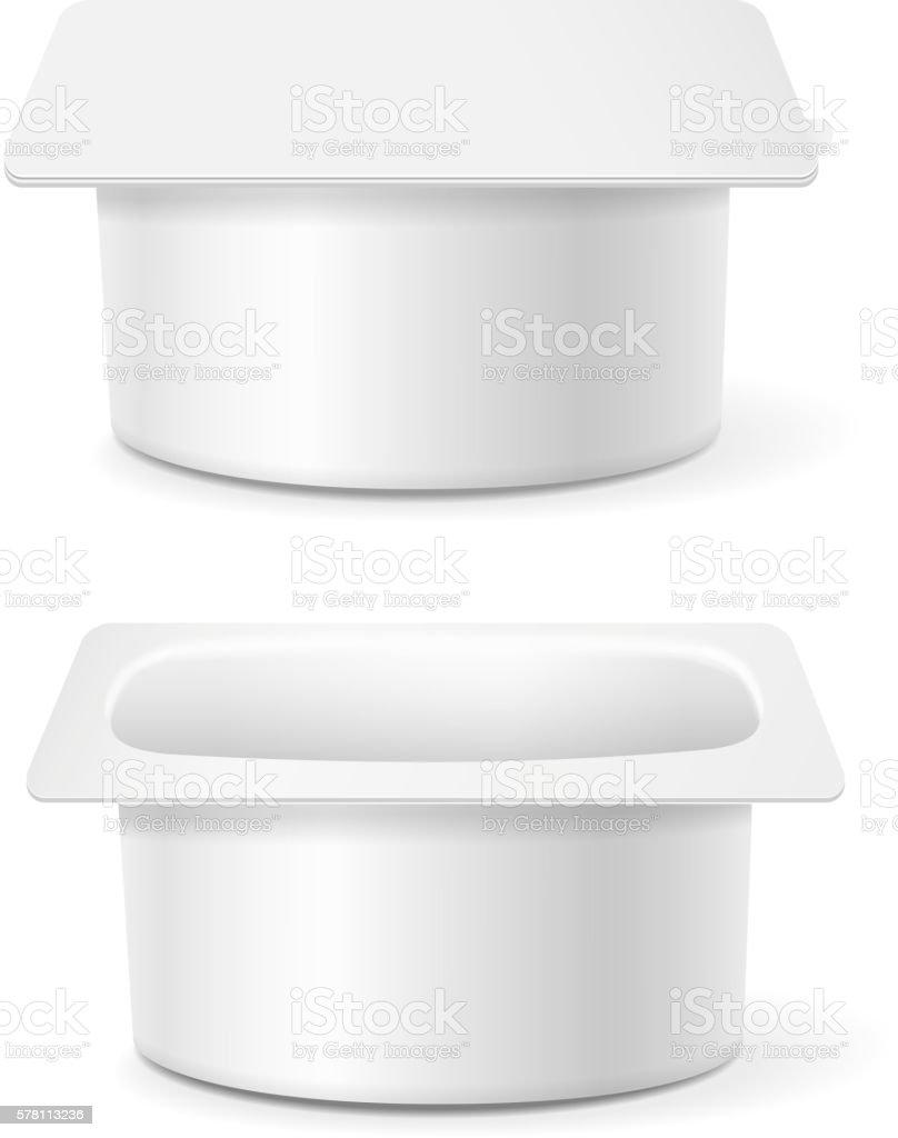White cup tub food plastic container for dessert, yogurt, vector art illustration