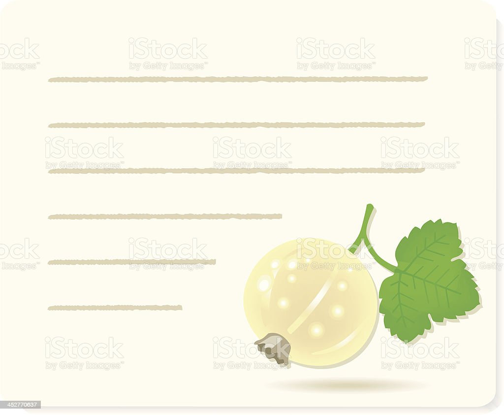 white currantfruit on recipepaper. royalty-free stock vector art