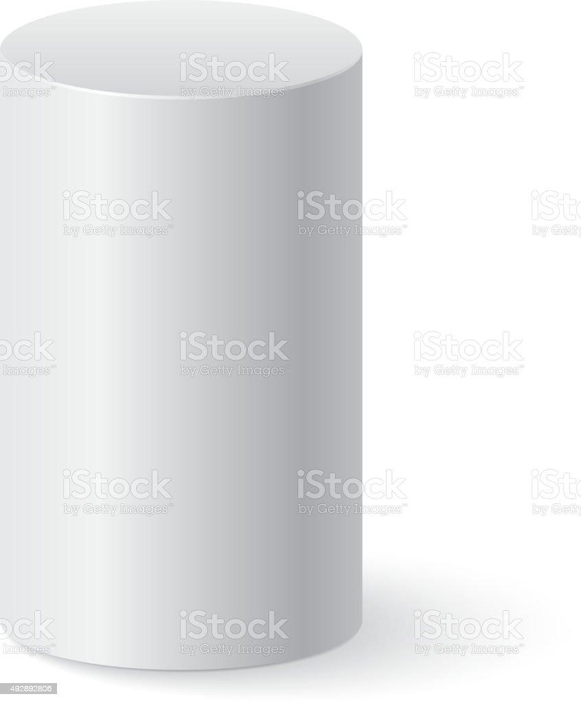 White cylinder isolated vector art illustration
