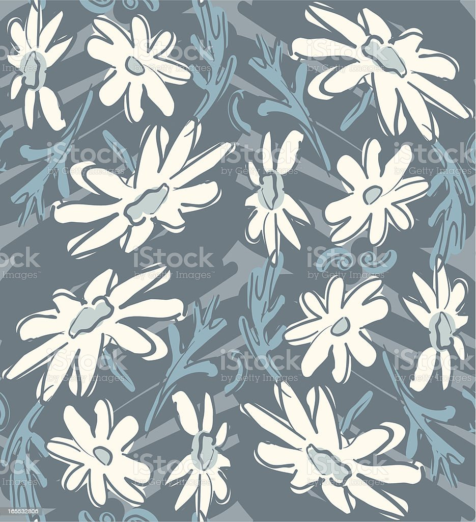 White Daisies on Blue - Seamless Pattern royalty-free stock vector art