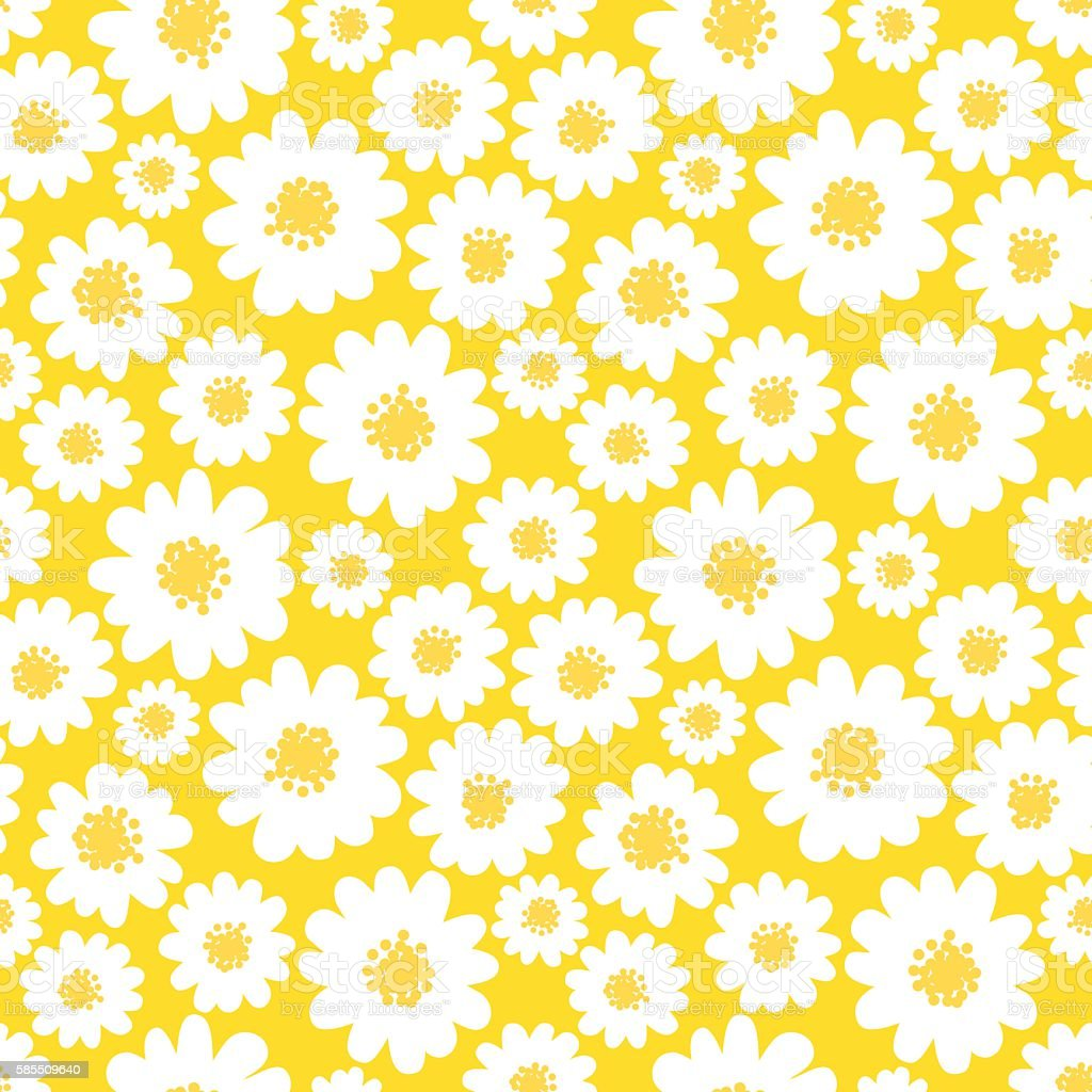 White daisies seamless pattern vector art illustration