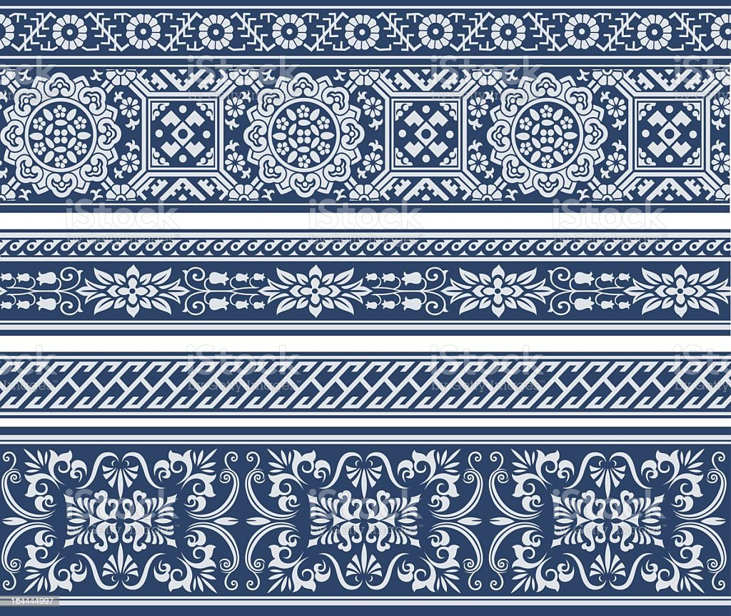 White decorative vintage floral pattern on blue background royalty-free stock vector art