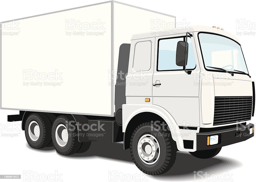 White delivery truck vector art illustration