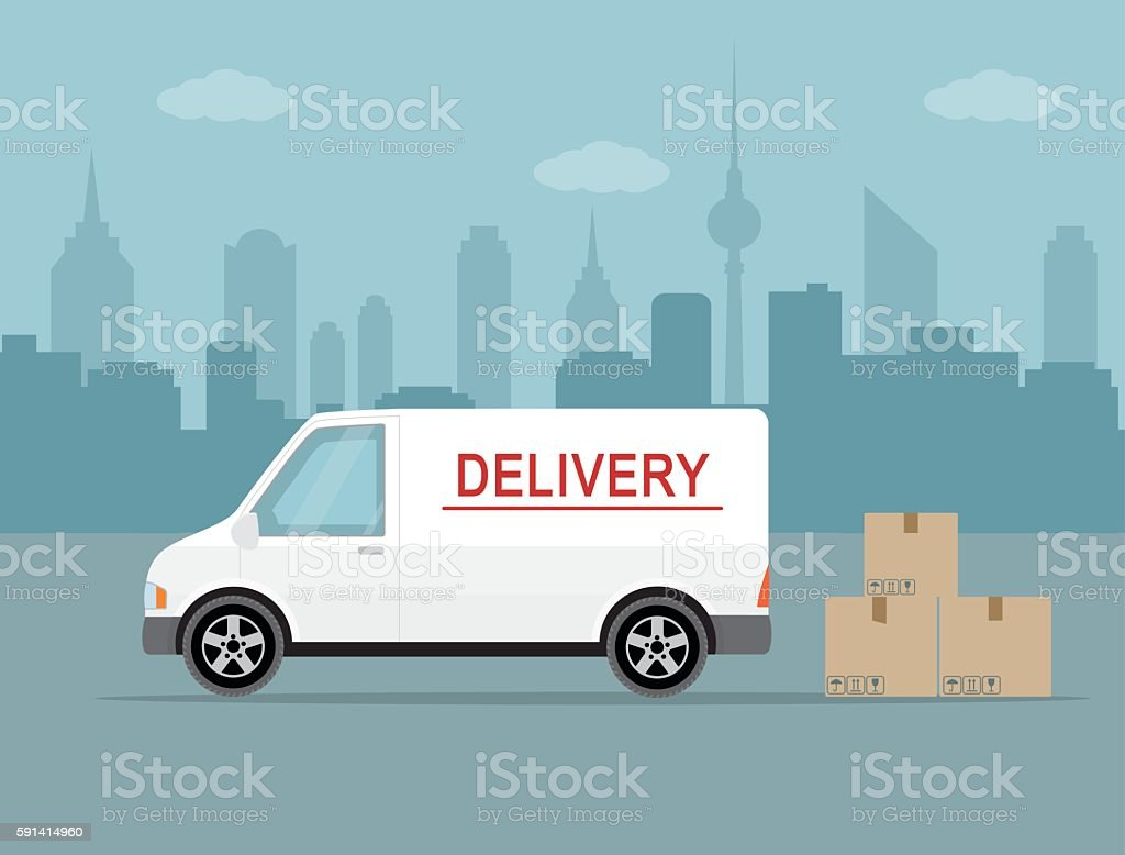 White delivery van on city background. vector art illustration