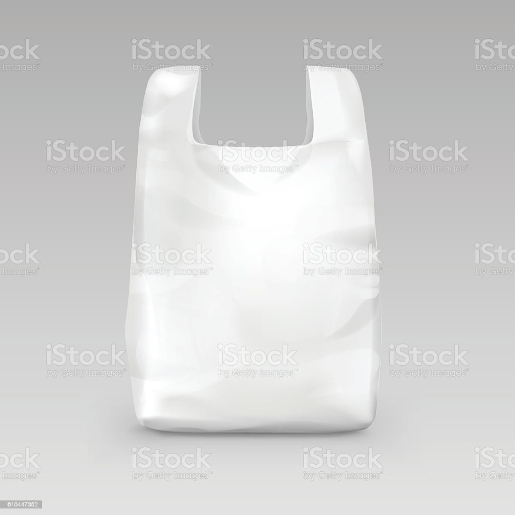White Disposable Plastic Shopping Bag with Handles Isolated on Background vector art illustration