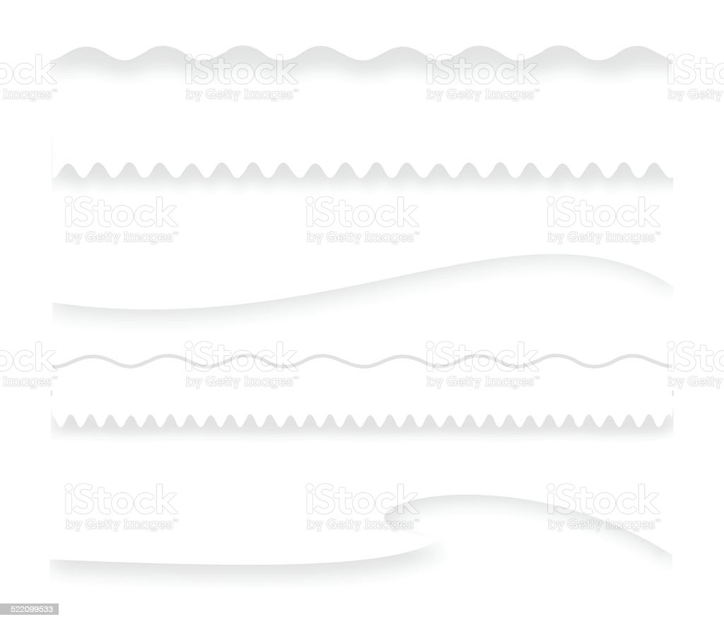White divider set with shadow vector art illustration