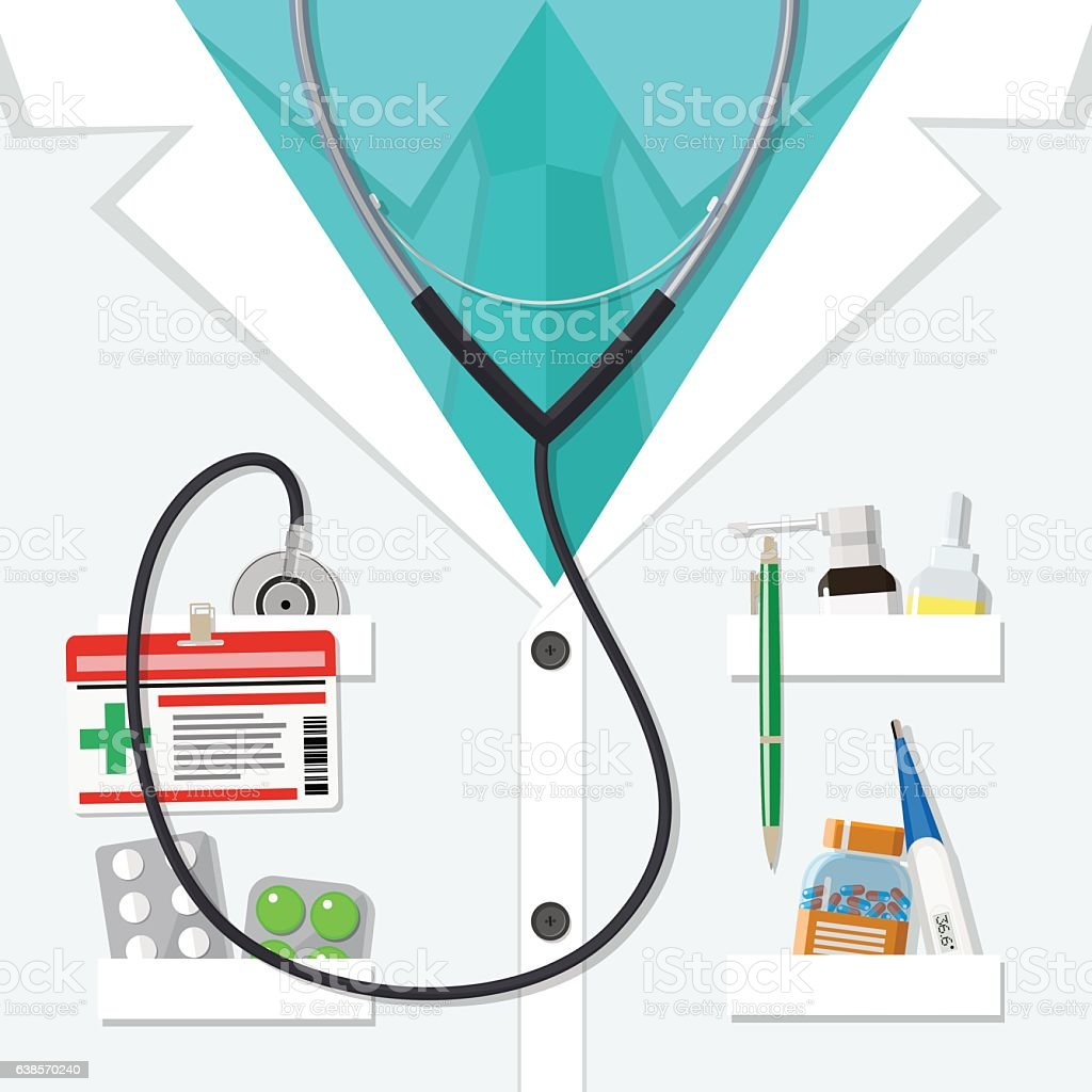 white doctors suit with pills and medical devices vector art illustration
