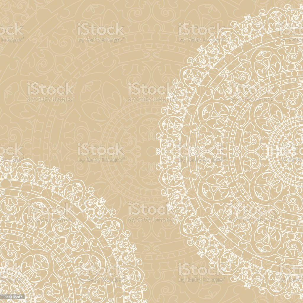 white doilies on beige background royalty-free stock vector art