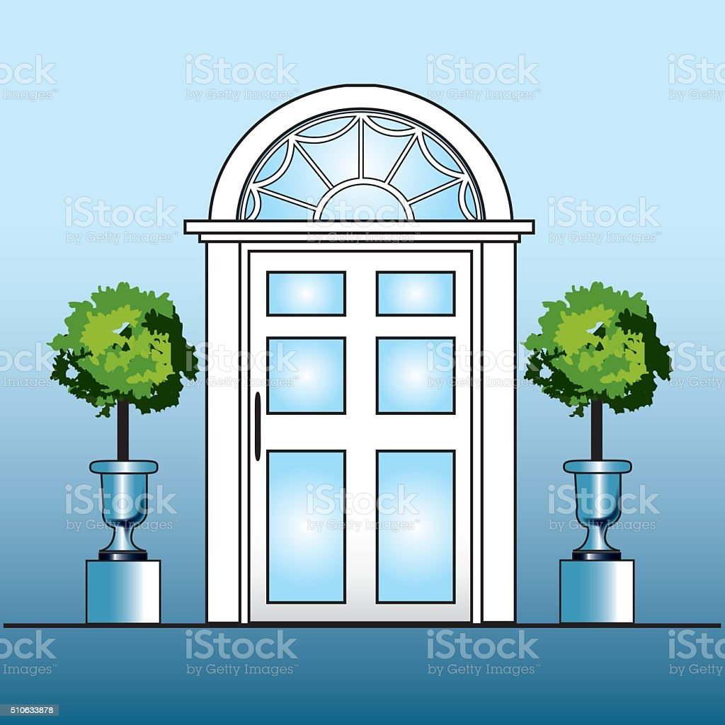 White door with topiary vector art illustration