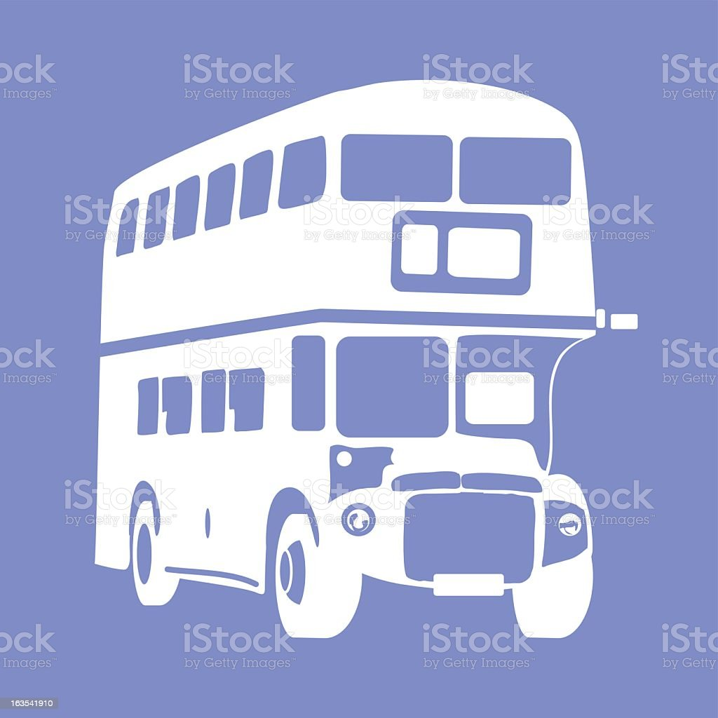 White double decker bus icon on blue background royalty-free stock vector art