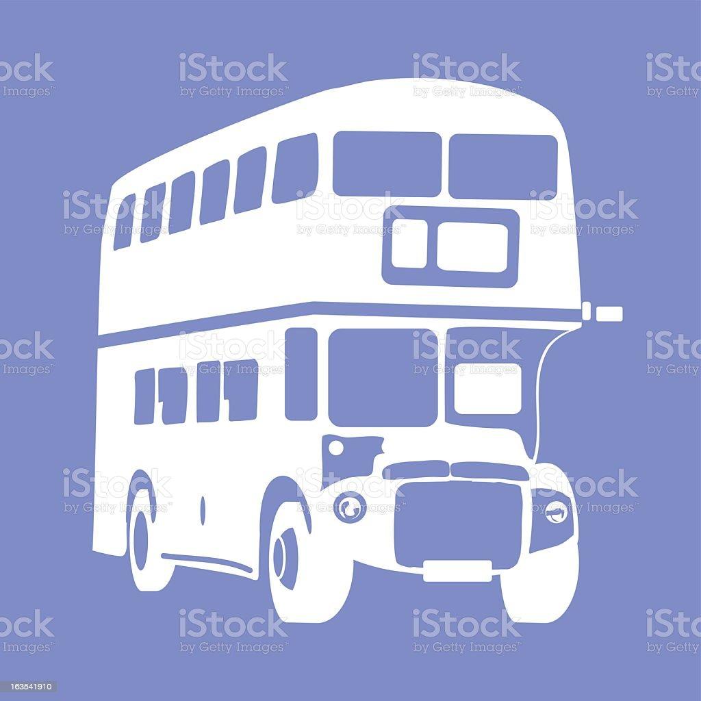 White double decker bus icon on blue background vector art illustration