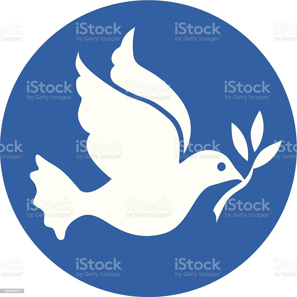 white dove of peace on blue circle vector art illustration