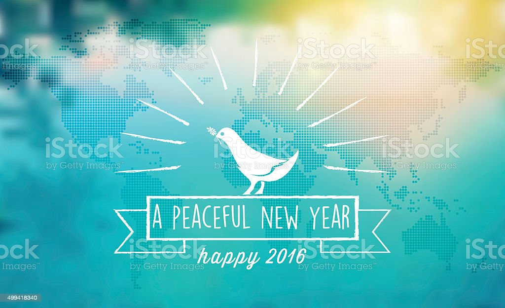 white dove peace symbol with 2016 text on blurred  background vector art illustration