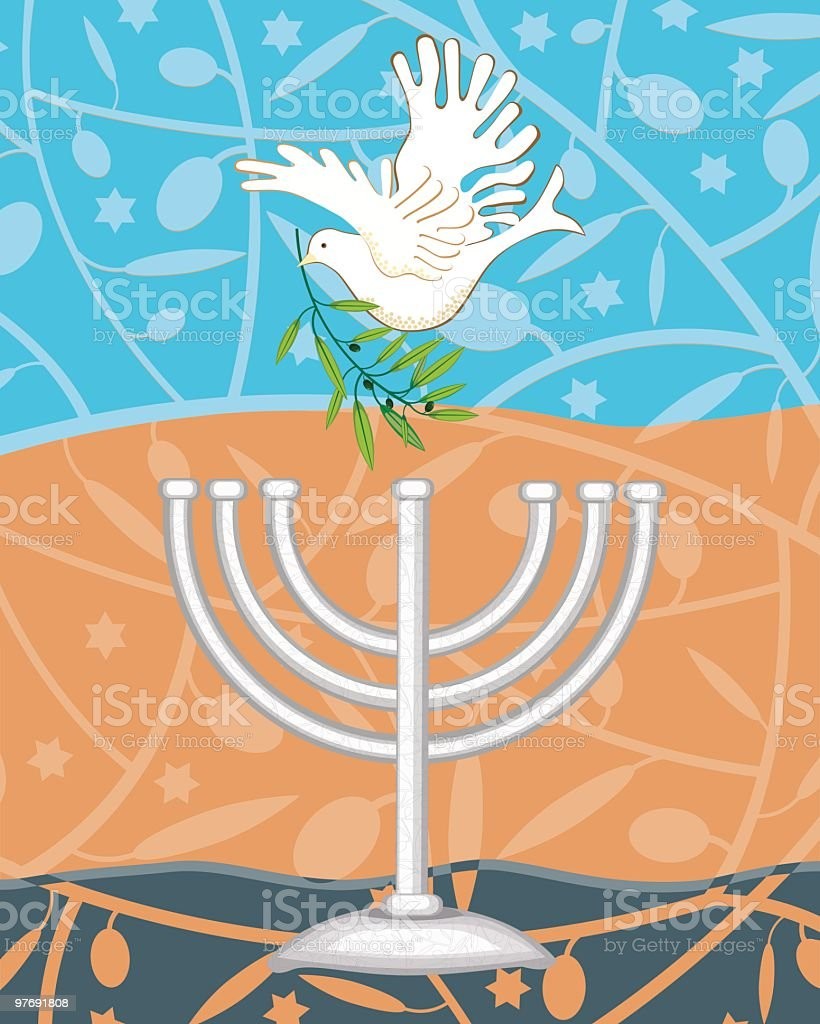 White Dove With Olive Branch and Menorah royalty-free stock vector art