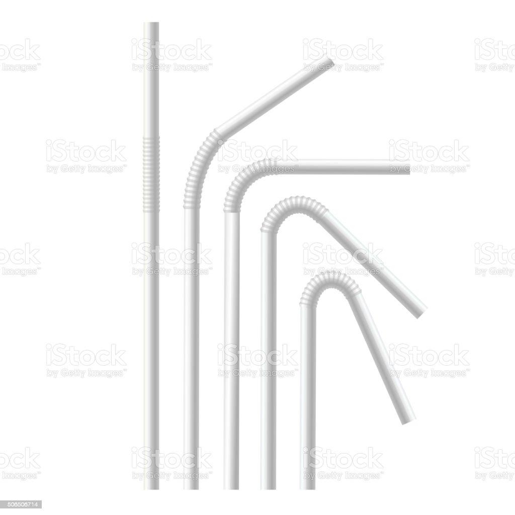 White Drinking Straws Set. Vector vector art illustration