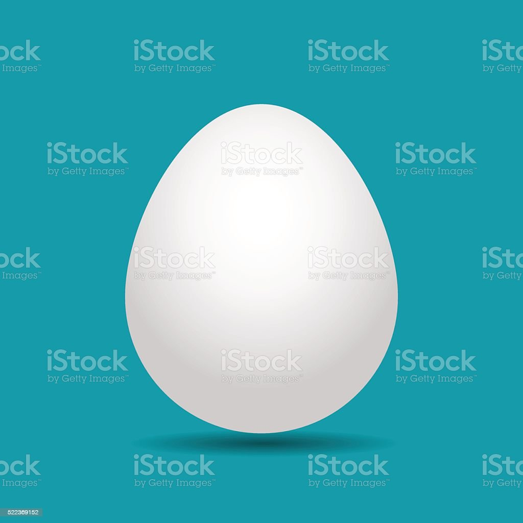 white Easter egg with shadow vector art illustration