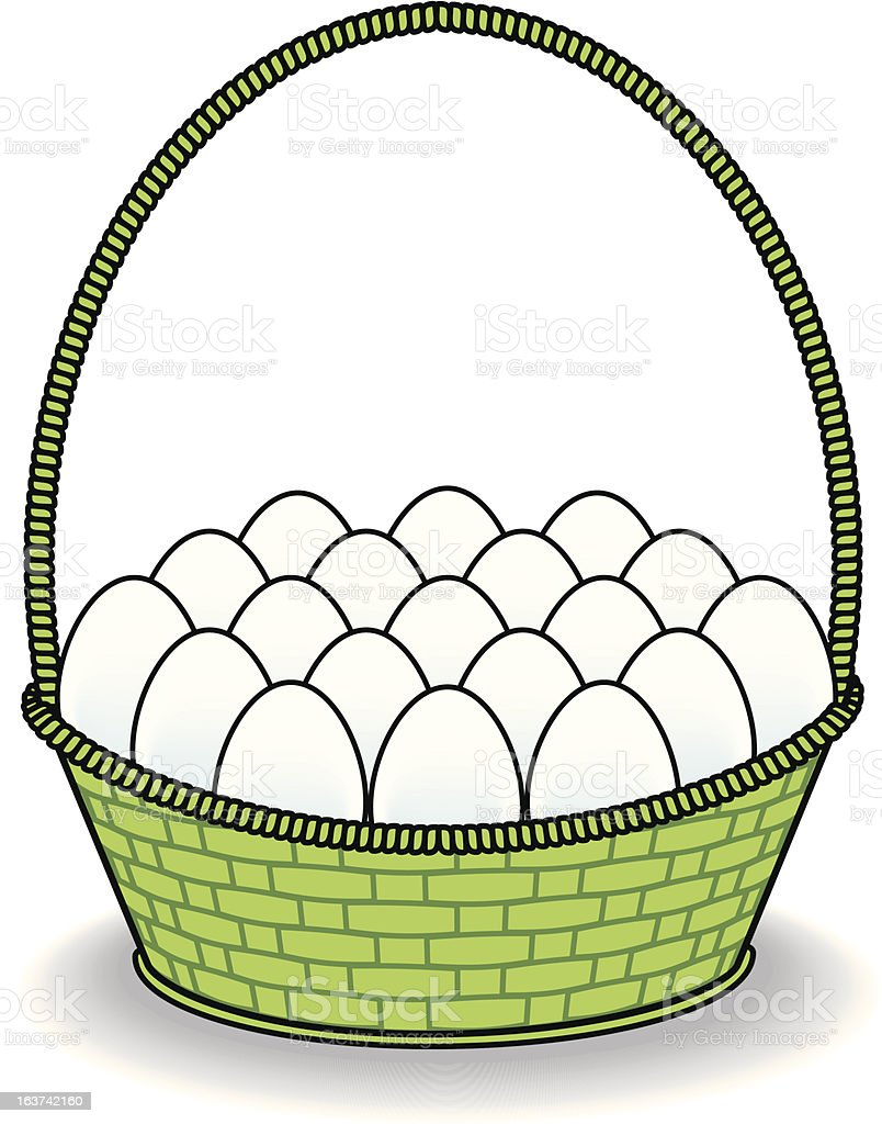 White Eggs in a Green Basket royalty-free stock vector art