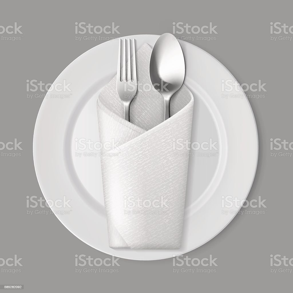 White Empty Flat Round Plate Silver Fork Spoon Envelope Napkin vector art illustration