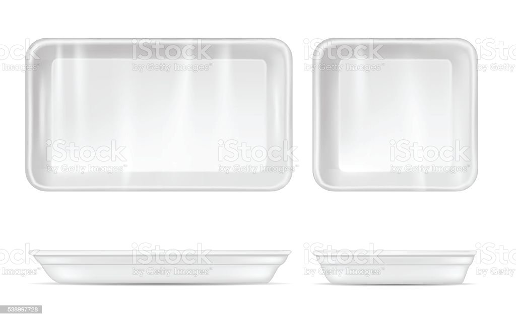 White empty plastic container for food. Packaging for meat. vector art illustration
