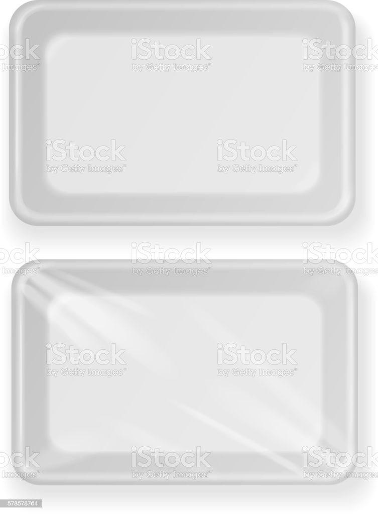 White empty plastic food container . Packaging for meat, fish vector art illustration