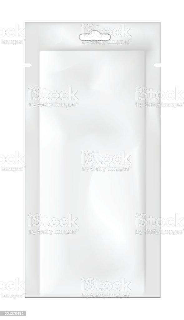 White empty plastic packaging. Blank foil or plastic sachet for vector art illustration