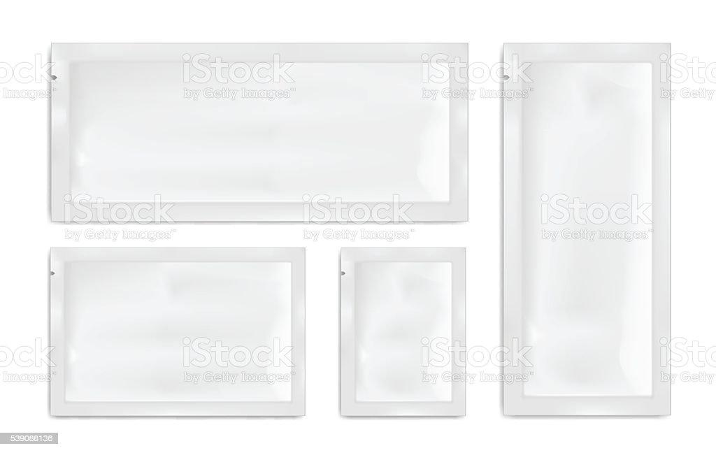White empty plastic packaging. Blank foil or plastic sachet. vector art illustration