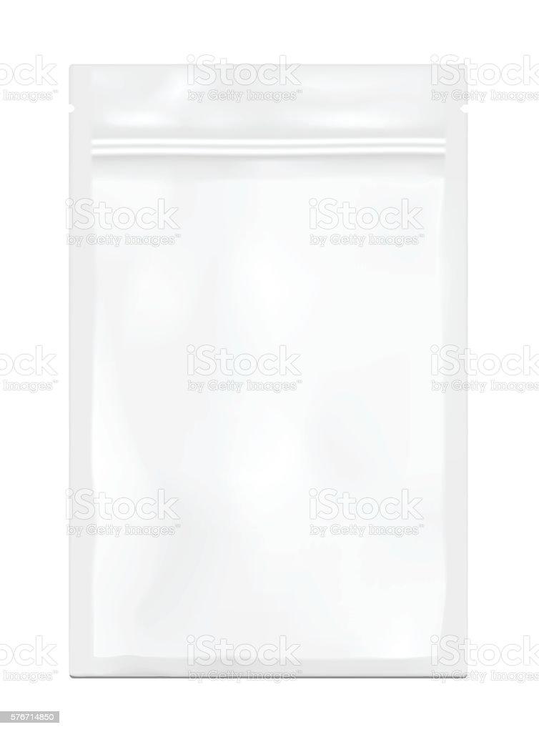 White empty plastic packaging with zipper. Blank foil sachet vector art illustration