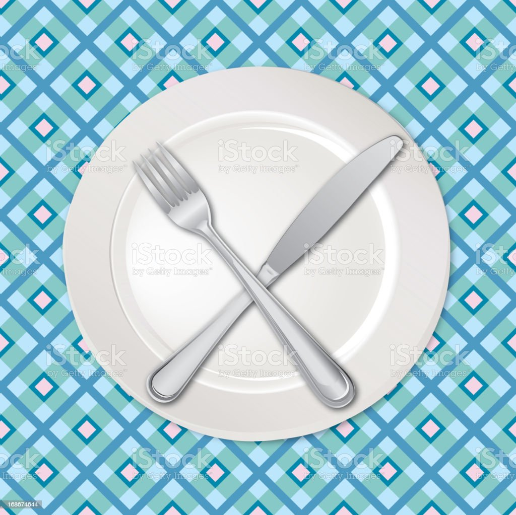 White empty plate with fork and knife royalty-free stock vector art