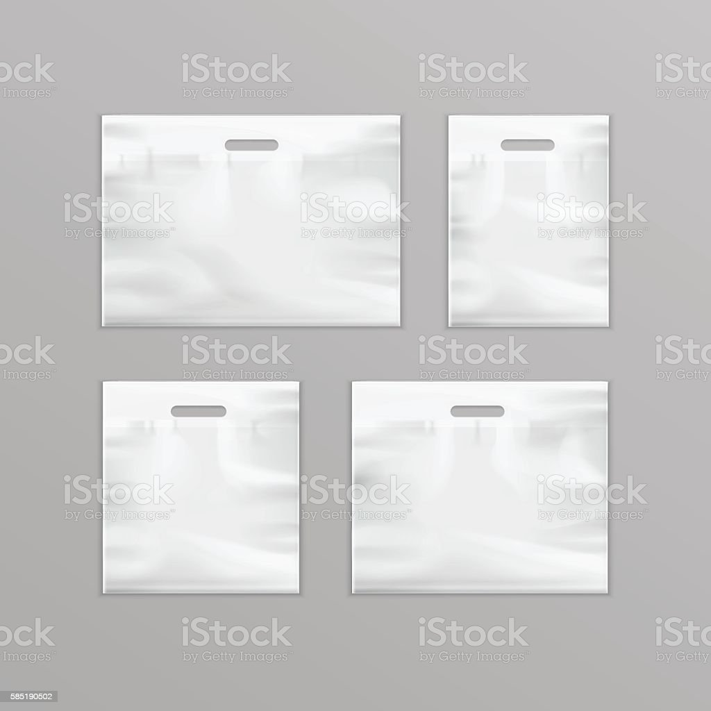 White Empty Reusable Plastic Shopping Bags with Handles for Packaging vector art illustration