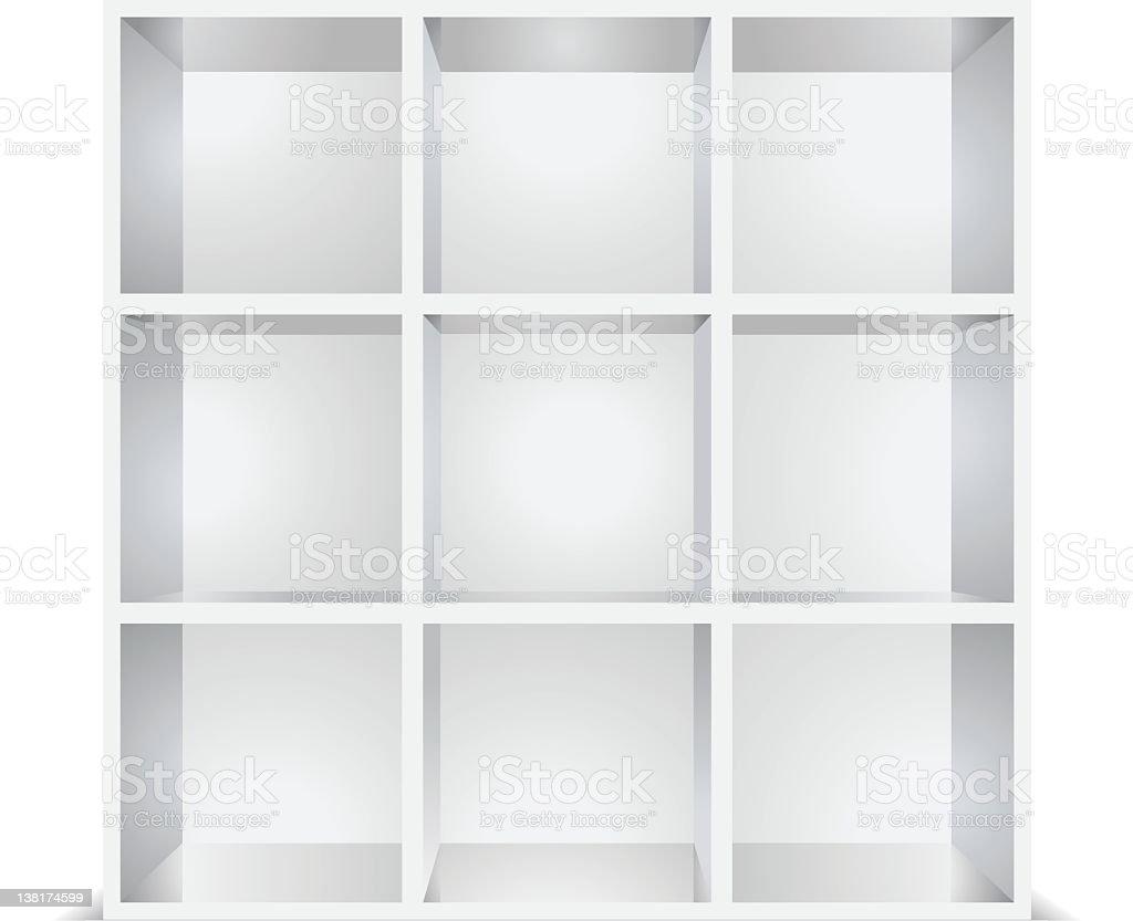 white empty shelves isolated vector art illustration