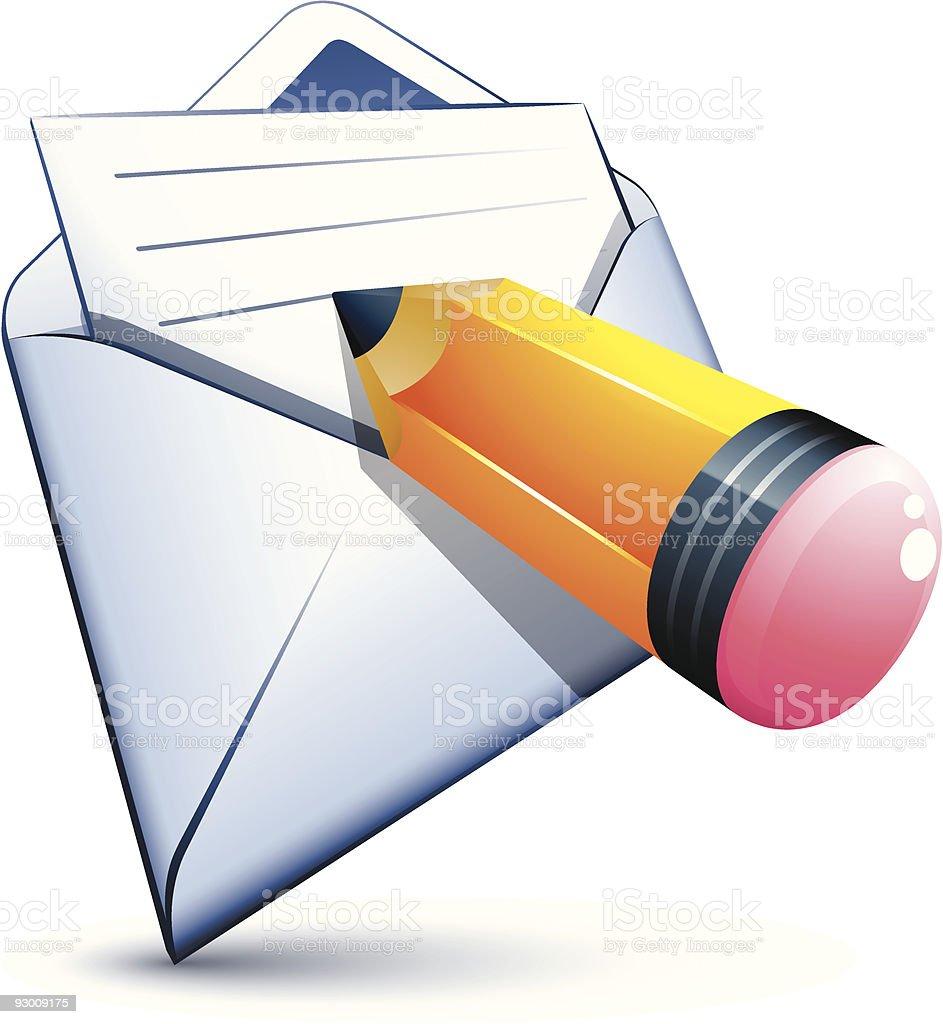white envelope and pen royalty-free stock vector art