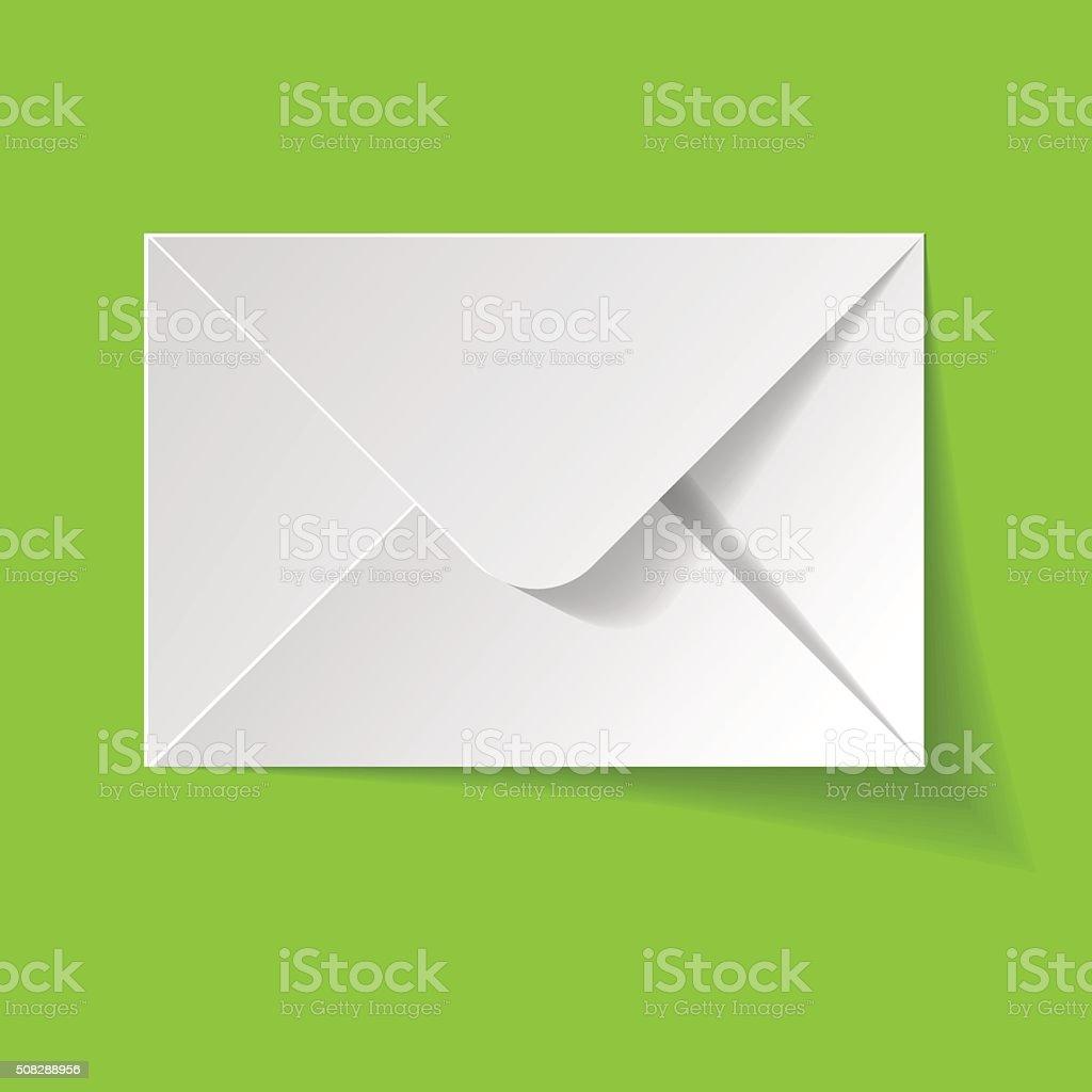 White envelope on a green background. vector art illustration