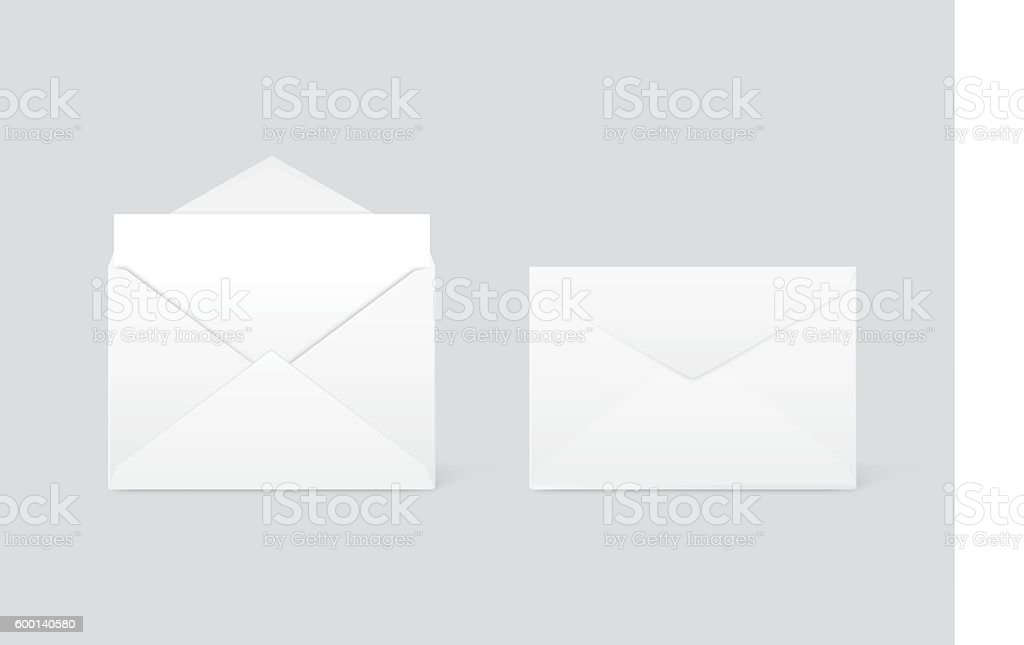 White envelope opened and close vector art illustration