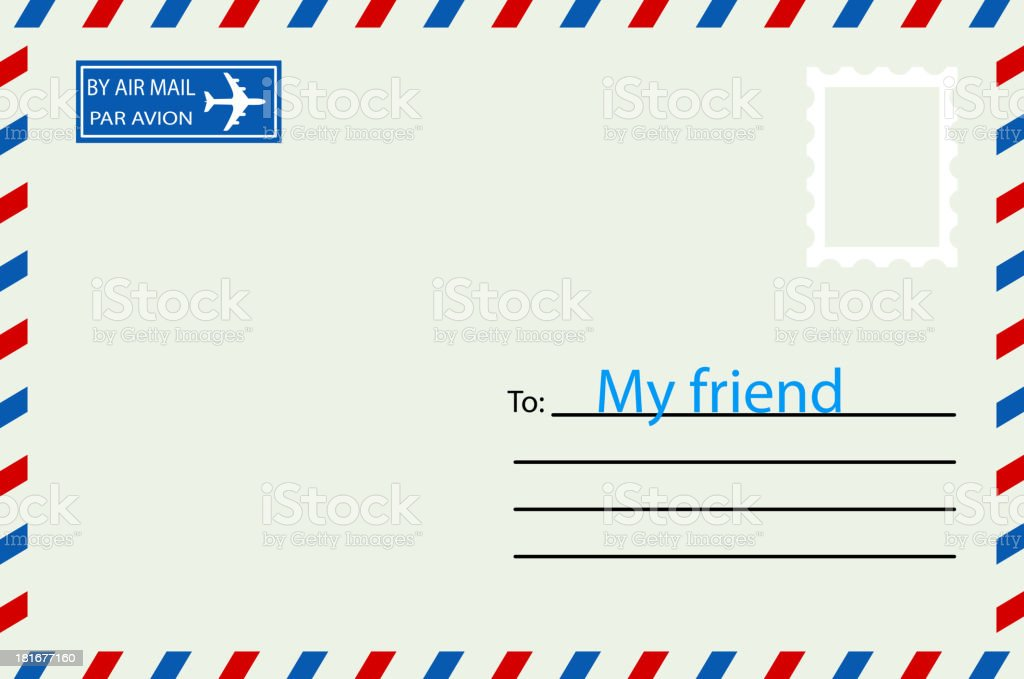 White  envelope with stamp. royalty-free stock vector art