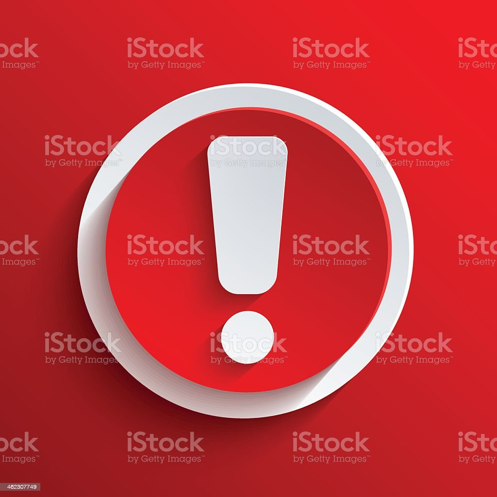 A white exclamation point with red circle vector art illustration